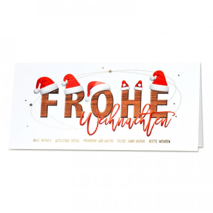 gesch ftliche weihnachtskarte mit frohe weihnachten. Black Bedroom Furniture Sets. Home Design Ideas