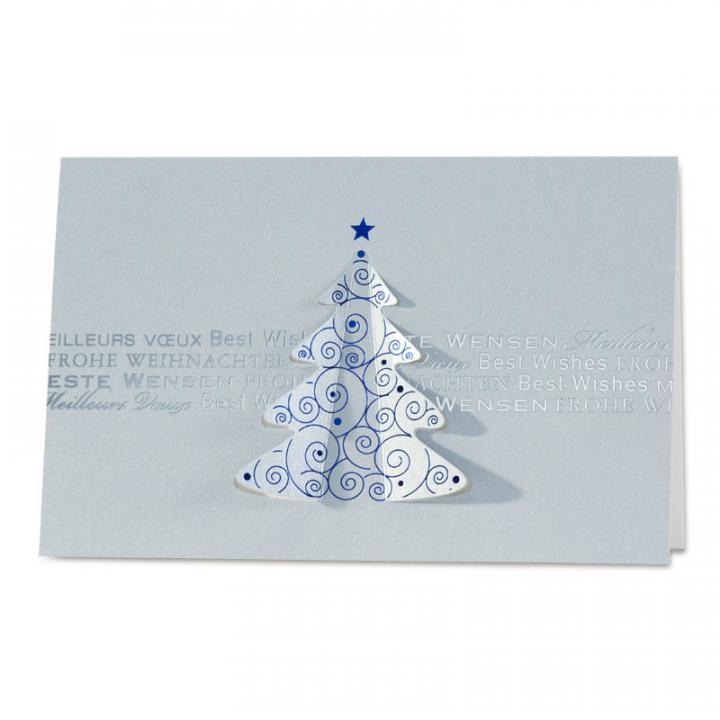 Weihnachtskarten Mit Gutem Zweck.Silberne Weihnachtskarte Für Firmen Mit Gestanztem Weihnachtsbaum